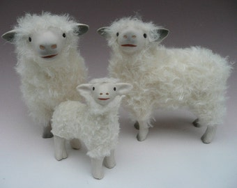 "Handcrafted Sheep Figures 5 1/2"" The Proud Cotswold Family"
