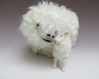 Mohair and Porcelain Sheep Figures, English Lincoln Longwool Snuggling With Lamb