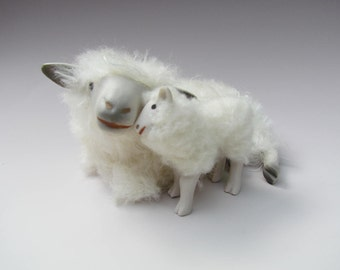 Handcrafted Cotswold Sheep Figure Lying Cheek to Cheek with Lamb