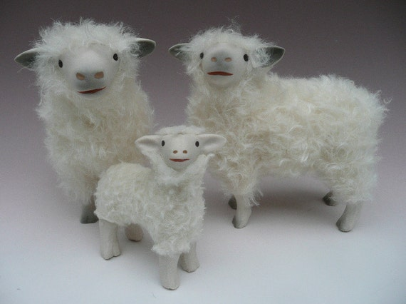 """Handcrafted Sheep Figures 5 1/2"""" The Proud Cotswold Family"""