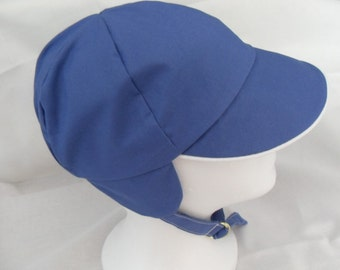 size 3 to 4 years - Blue Vintage Style BOYS CAP with earflaps and strap
