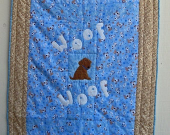 Woof Woof Little Brown Dog Lap, Baby or Wall Hanging Quilt