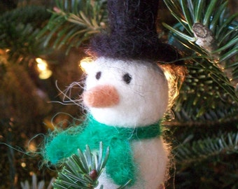 Hanging Snowman Ornament - Alpaca needle felted