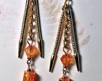 Golden Daggers- OOAK Earrings- handmade earrings- artisan earrings- handmade jewelry- beaded earrings- dangle earrings- gift for her
