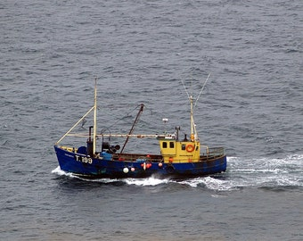 Trawling off the Dingle Peninsula- fine art print- Ireland photography, fishing boat photography, wall art, home decor, seascape, office art