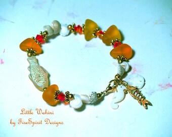 Little Waihine- handmade bracelet- artisan bracelet- ooak bracelet- beaded bracelet- beaded jewelry- gift for her- beach style bracelet