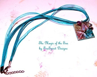 The Magic of the Sea- OOAK handmade artisan necklace- ribbon necklace- sea theme necklace- pendant necklace- clay pendant- gift for her