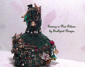Evening in New Orleans- OOAK beadwoven vintage perfume bottle- mixed media art- beadweaving- sculptural bead art- home decor- art object