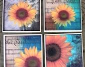 Coaster Tiles Coaster Drinks Sunflower Coaster Set Sunflower Coasters