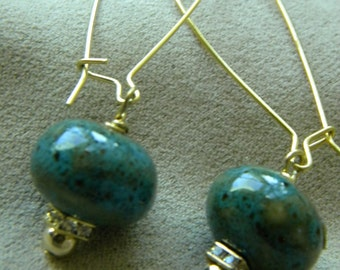 Turquoise ceramic crystal and gold earrings