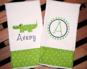 Embroidered Alligator Burp Cloth - Monogrammed and Personalized