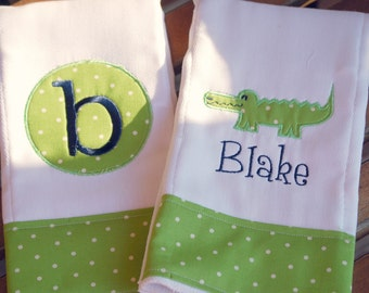 Embroidered Circle Alligator Burp Cloth - Monogrammed and Personalized