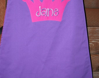 Custom Made Embroidered and Personalized Pink and Purple Crown SuperHero Cape