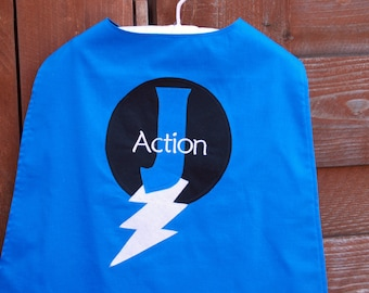 Custom Made EMBROIDERED and Personalized SuperHero Cape in Blue and Black