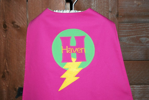 Custom Made EMBROIDERED and Personalized SuperHero Cape in Pink and Green