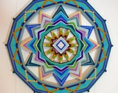 Bluegreen Sea, a 24 inch, 12-sided, Ojo de Dios
