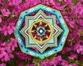 Golden Sun, a 18 inch, acrylic yarn mandala, by custom order