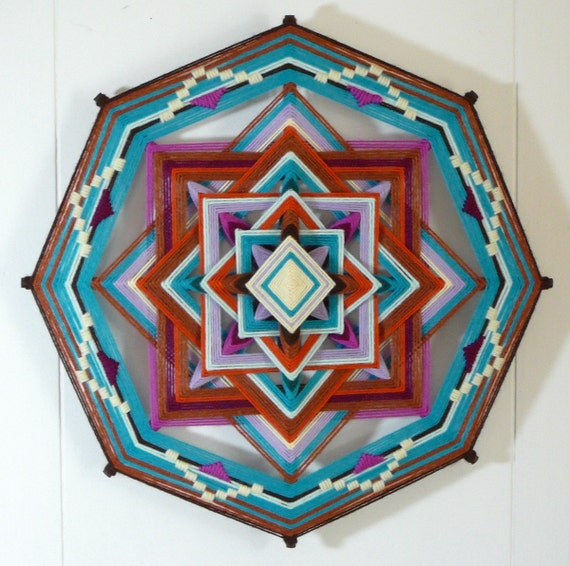 Earth Meets Sky, a 16 inch, 8-sided Ojo de Dios, by custom order