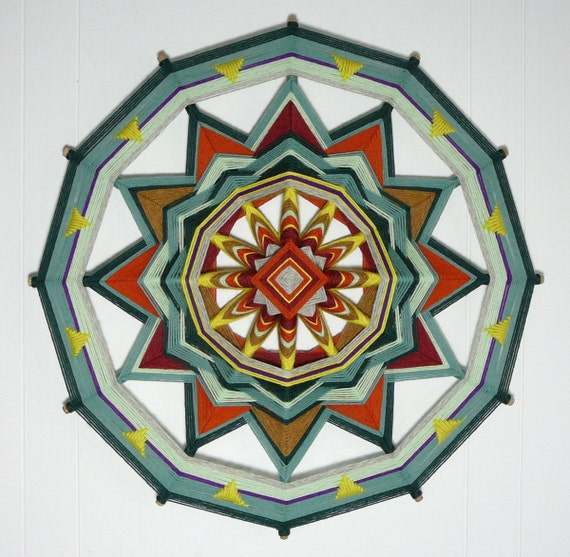 Sunshine and Sage, an 18 inch, 12-sided, Ojo de Dios, by custom order