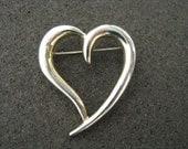Gold tone modern heart shape open brooch pin.  Vintage pin.  Vintage brooch