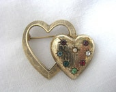 Emmons vintage  gold tone double heart brooch pin w/ red blue green rhinestones