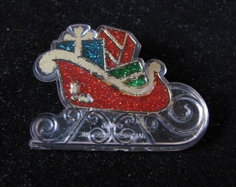 Vintage holiday Christams Sleigh brooch pin brooch by Hallmark Cards Vintage brooch
