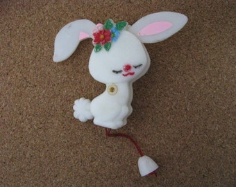 Vintage plastic bunny rabbit brooch pin with movable ears & tail