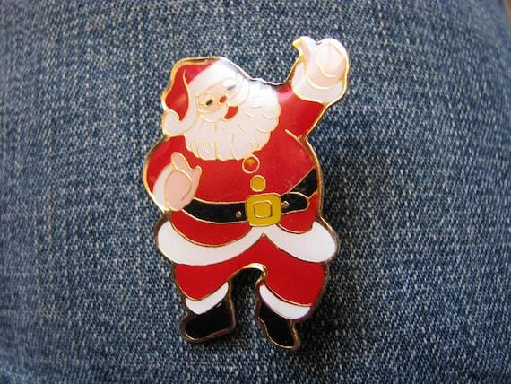 Vintage enamel Santa pin brooch for the holidays