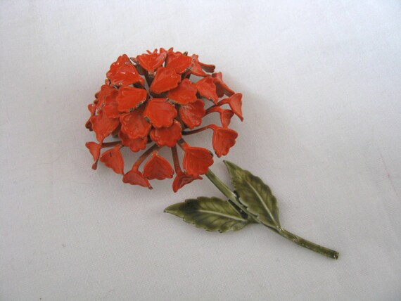 Awesome textured orange enamel flower pin brooch with green stem