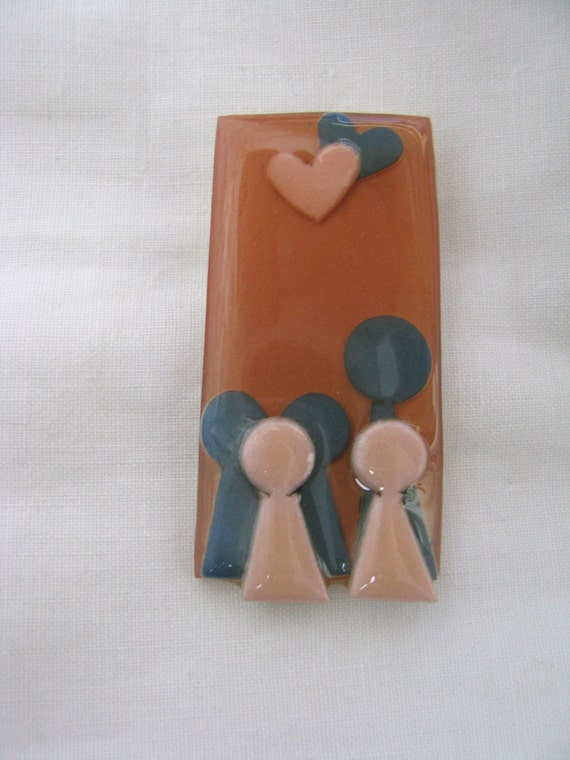 Abstract people pin brooch with hearts by Lucinda Peachy coral pink blue