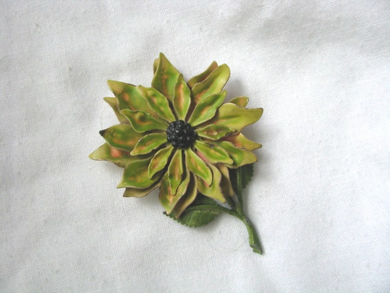 Layered enamel flower pin brooch muted green tones with watercolor effect