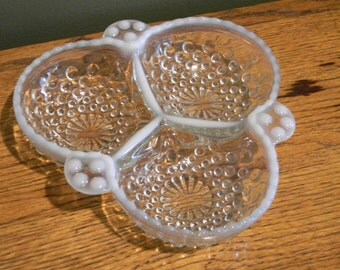 Vintage 3-Part Relish Dish in the Moonstone-Clear Opalescent pattern by Anchor Hocking