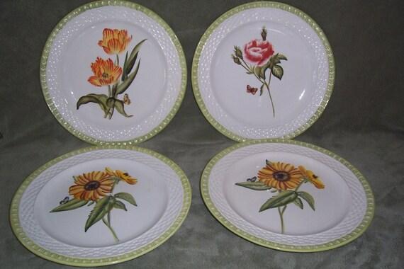 Vintage Raymond Waites Flower Motif Embossed Hampton Garden Dinner Plates