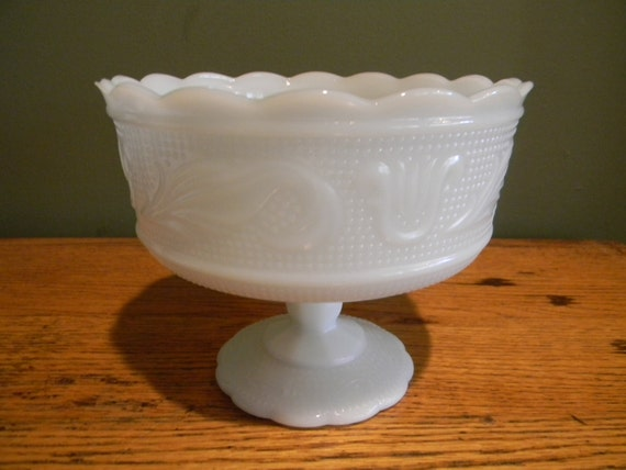 Vintage Wedding Table Setting Milk Glass EO Brody Compote