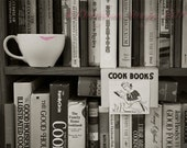 coffee, cookbooks, Fun Art Photography, black and white, humor, whimsical mood, pink lipstick, female whimsy