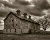 Old barn - art photography, sepia tone, stormy skies, rural landscape, moody, country rustic, foreboding, rural architecture