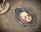 Lady Death Cameo Brooch Pin/Pendant - Resin - Victorian Gothic