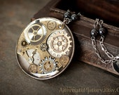 Huge Steampunk Pendant - Watch Gears in Resin with Beaded Chain