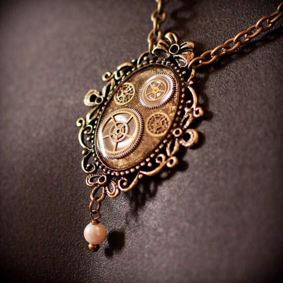 Steampunk Necklace - Watch parts in Resin with Filigree and Pearl