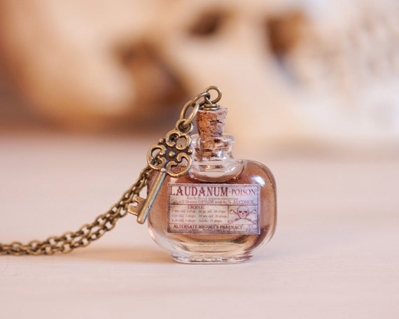 Laudanum / Poison Bottle Necklace with Skeleton Key - Small Apothecary ...