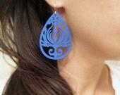 Wood Earrings, Blue Earrings, Filigree Earrings, Cobalt Blue Laser Cut Wood Earrings, Tribal Design, Ornate Wood Earrings, Sale Earrings