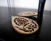 Gifts for Her Under 20 - Wood Earrings - Intricately Carved/Cut Wood Earrings - Natural Matte - Cyber Monday Deals