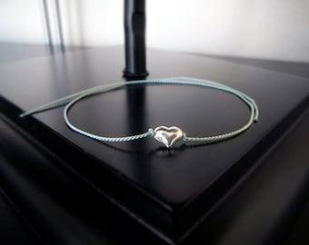 Wish Bracelet - Friendship Bracelet - Silver Heart Bracelet - Bridesmaid Gift - Minimalist Jewelry - Single Puffy Silver Heart #2-003