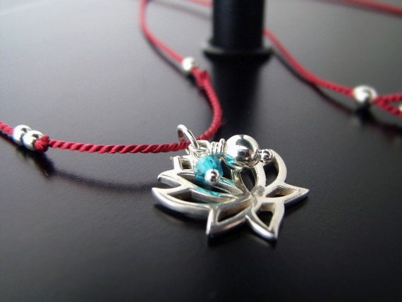 Lotus Me Necklace - sterling/silk