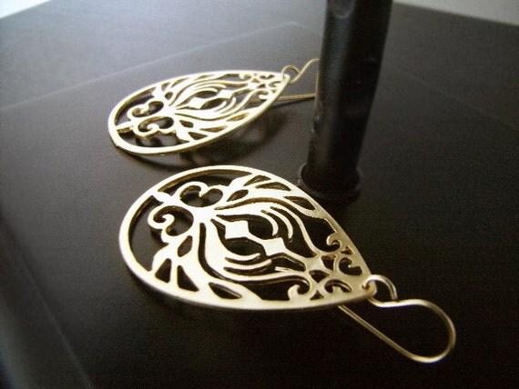 Gold Earrings - Hoop Earrings - Ornate - Lazar Cut Earrings - Golden Garden - Lightweight Earrings
