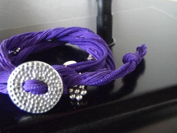 Adjustable Bracelet -  Silk Ribbon Wrap Bracelet - Bright Purple - Urchin