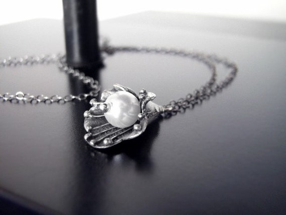 Gifts for Her Under 30 - Oxidized Silver/Brass Necklace - Organic Pearl Sea Flower