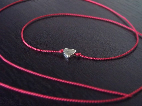 Wish Necklace - The Original Tiny Silver Heart Wish Necklace - Red