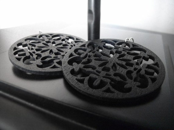 Iron Gates - Intricately Carved/Cut Wood Earrings - Matte Black