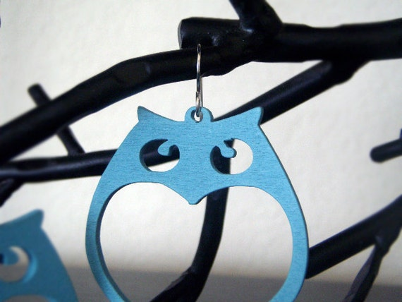 Owl Earrings - Wood Earrings - Teal/Blue (Matte) - Hoot